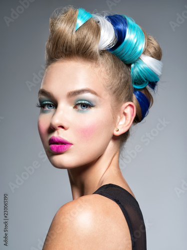Beauty Fashion Model Girl with  creative hair