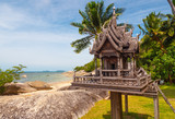 Sanprapum at sand beach coast of Thailand,island koh Phangan,houses for spirits. That is a very important part of a Thai culture & traditions. People leave water and some food for spirits to honour  - 230070147