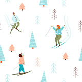 Skiing people in winter forest seamless pattern. Vector hand drawn illustration. - 230077977