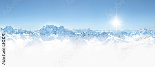 Leinwanddruck Bild Panorama of winter mountains in Caucasus region,Elbrus mountain,