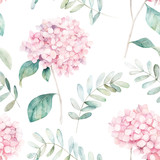 Watercolor seamless pattern. Vintage print with hortensia flowers and eucalyptus branches. Hand drawn illustration - 230110539