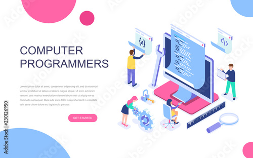 Modern flat design isometric concept of Computer Programmers for banner and website. Isometric landing page template. Developer of project team of engineers for website coding. Vector illustration.