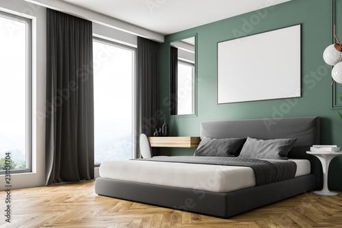 Zielona ściana rogu sypialni, plakat