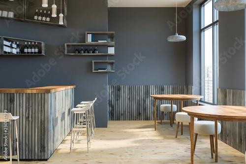 Leinwanddruck Bild Gray bar interior, bottles on walls