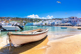 Mykonos port with boats, Cyclades islands, Greece - 230136958