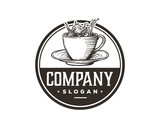 Hand Drawing Vector Fresh Hot Coffee Cup Sign Symbol Vintage Circle Logo Template Design Inspiration - 230141945