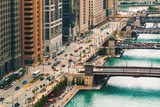 Chicago River with boats and traffic in Downtown Chicago - 230142777