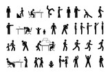 icon people in different situations, set of human figures, stick figure person  pictogram, man, woman and children - 230179538