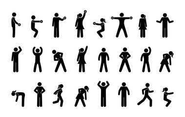 icons of people involved in fitness, gymnasium pictogram, isolated silhouettes of human figures, training symbol, gym © north100