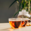 Leinwanddruck Bild - Tea composition on concrete background - space for text
