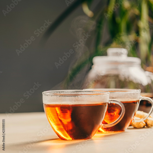 Leinwanddruck Bild Tea composition on concrete background - space for text