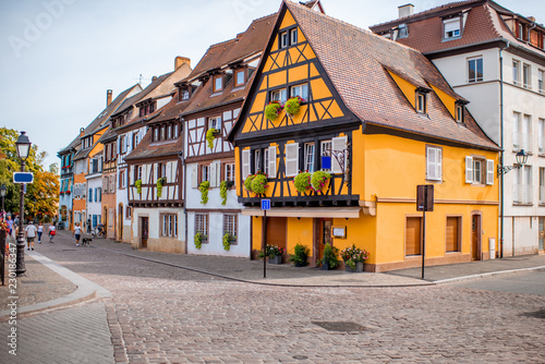 Leinwanddruck Bild Cityscaspe view on the old town with beautiful half-timbered houses in Colmar, famous french town in Alsace region