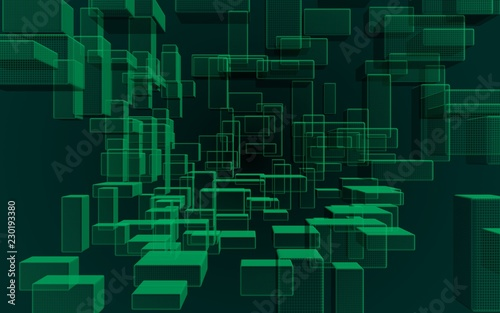 Green and dark abstract digital and technology background. The pattern with repeating rectangles. 3D illustration - 230193380