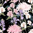 Seamless pattern. Beautiful pink violet blooming flowers. Vintage black background. Lilac, chrysanthemums and wildflowers. Wallpaper or print for textile. Drawing engraving.  - 230196739