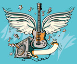 Music design - drawn winged guitar and amplifier