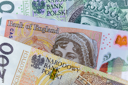 Close Up Macro Photography Of British Pound And Polish Zloty Business Money Exchange Concept