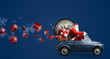 Leinwandbild Motiv Christmas countdown arriving. Santa Claus on car delivering New Year gifts and clock at blue background