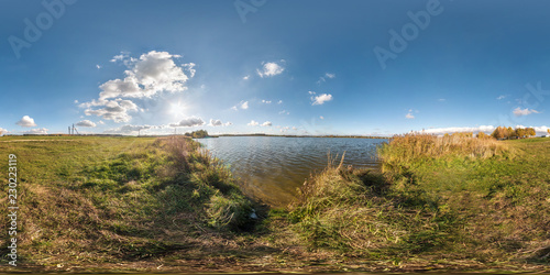 full seamless spherical panorama 360 degrees angle view on the shore