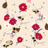 seamless Wild flowers and insect illustrations. Hand drawing style.