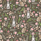 Seamless pattern with cute rabbits. Watercolor hand drawn
