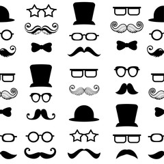 Moustache mustache vector seamless pattern background hipster