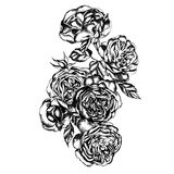 Beautiful graphic bouquet with flowers rose   - 230230732