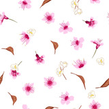 Beautiful Seamless pattern with hand drawn decorative cherry blossom flowers, design elements. Floral pattern for wedding invitations.