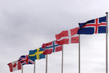 Flags on flagpoles from Iceland, Denmark, Norway, Sweden, United Kingdom and Canada - 230231568