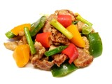 Stir fried pork with scallions and peppers on a white background - 230234112