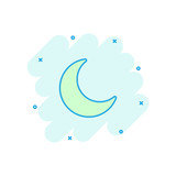 Vector cartoon nighttime moon and stars icon in comic style. Lunar night concept illustration pictogram. Moon business splash effect concept.