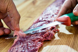 Preparation of raw Skirt Steak for the barbecue - 230241109