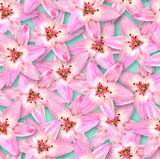 Seamless floral pattern. Chaotic arrangement of flowers. Pink lily flower.