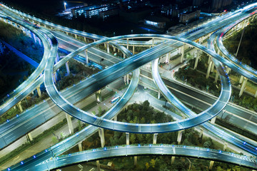 Highway transportation system highway interchange at mopac Expressway and highway 183 in Austin Texas USA summertime green road way interstate
