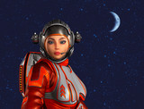 Astronaut woman in front of space background with stars and moon. 3D rendering. - 230250919