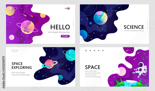 set of web banners templates. presentation. space explore. cartoon vector illustration.