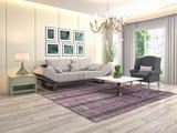 Interior of the living room. 3D illustration - 230268518