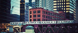 Panoramic view of elevated railway train in Chicago - 230270586