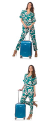 Woman with suitacases preparing for summer vacation © Elnur