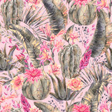 Exotic natural vintage watercolor blooming cactus seamless patte