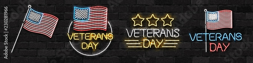 Vector realistic isolated neon sign for 11th November, Veterans Day logo for decoration and covering on the wall background. Concept of Memorial day in USA.