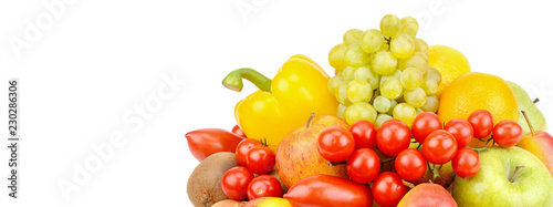 A set of fruits and vegetables isolated on white background. Free space for text. Wide photo .