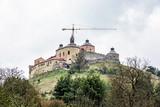 Krasna Horka castle with crane, Slovakia