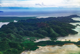 Aerial view on beautiful lagoons karst landform and green mangrove tropical forest, swamp line in Siargao island, the Philippines. - 230295397