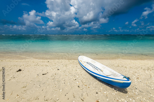 kayaking to the reef on the  beach of Pandava,  Bali. Indonesia - 230296567