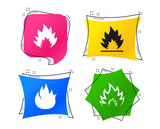 Fire flame icons. Heat symbols. Inflammable signs. Geometric colorful tags. Banners with flat icons. Trendy design. Fire vector - 230303723