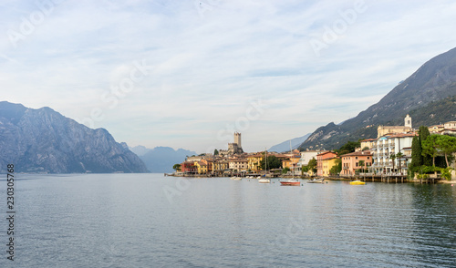 Wall mural Landscape with Malcesine at Lake Garda in Italy