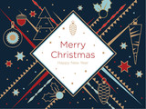 Christmas greeting card. Golden Christmas elements on a dark blue background. New Year's design template with a window for text. Vector flat. Horizontal format