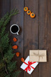 Christmas background with gifts and Christmas tree tea cup fruit - 230323537