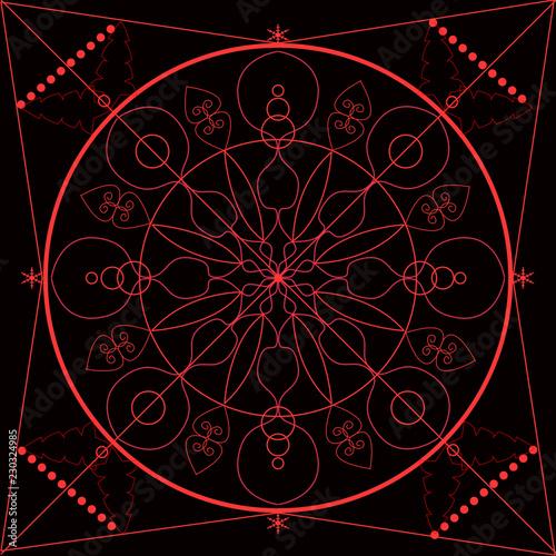 Mandala Rosso Su Sfondo Nero Buy Photos Ap Images Detailview