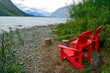Red Chairs by Kathleen Lake in Yukon Territory, Canada
